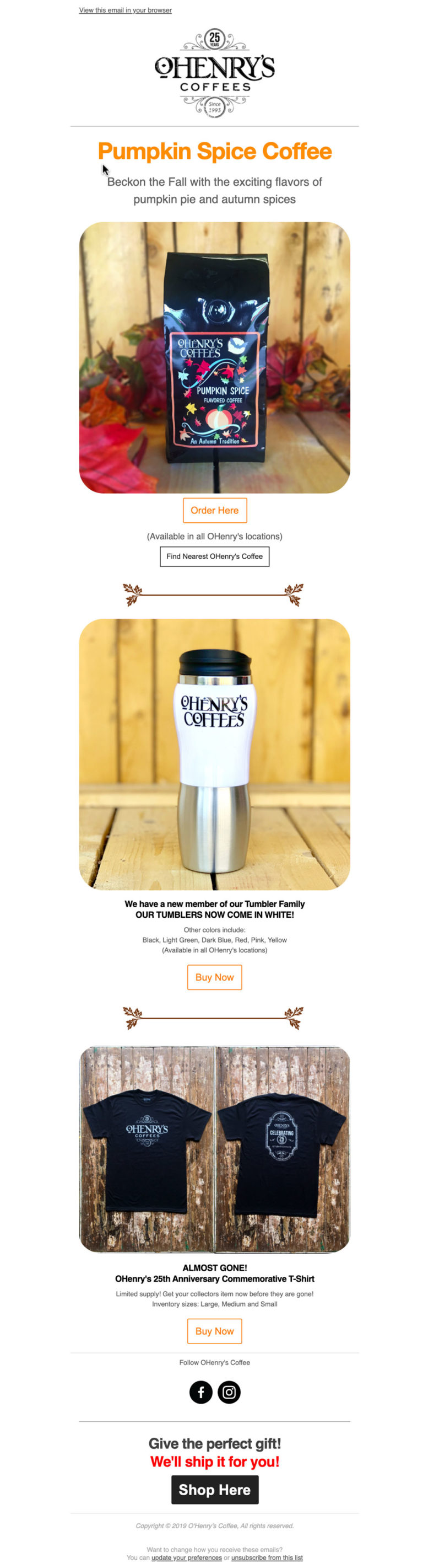 OHenry's Coffee Email